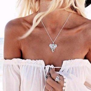 Jewelry - Boho Tibetan Elephant Turquoise Stone Necklace